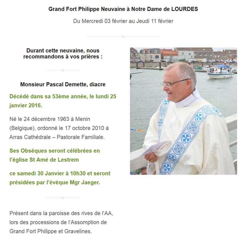 Grand Fort Philippe Neuvaine à Notre Dame de LOURDES